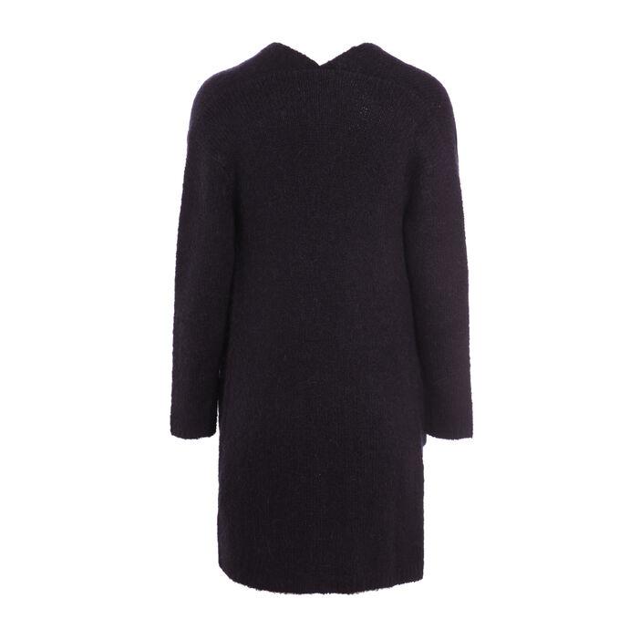 Gilet long ouvert en laine bouclette gris foncé femme