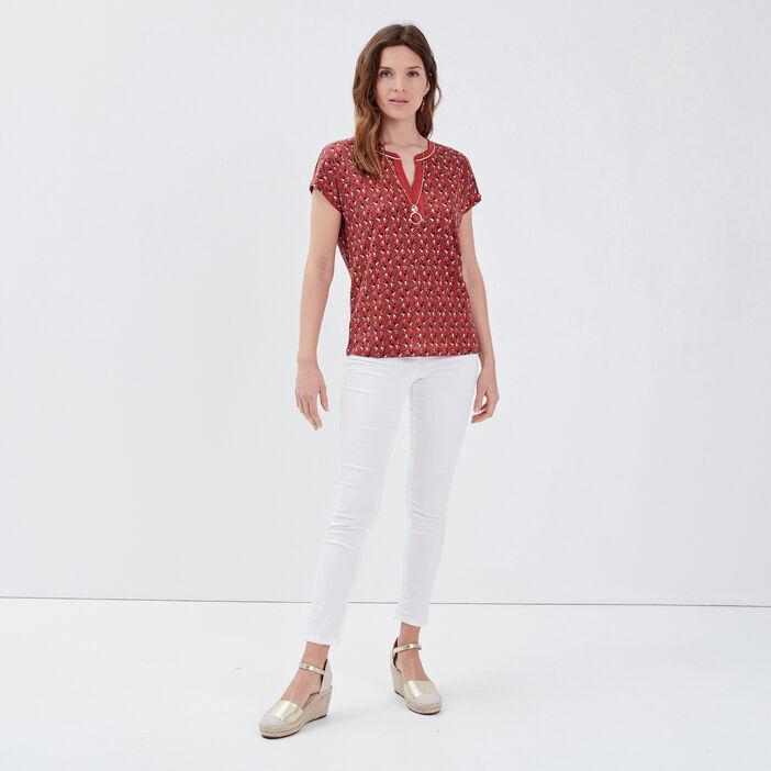 T-shirt manches courtes terracotta femme
