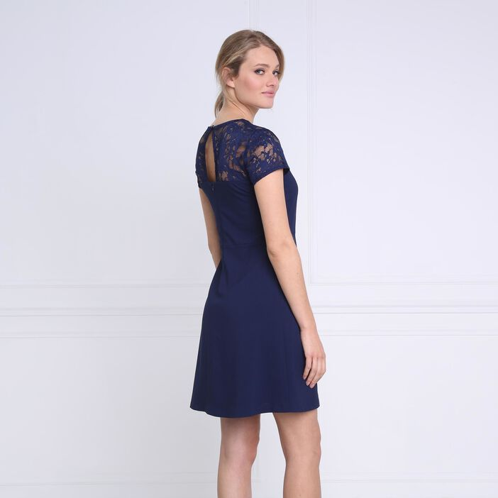 Robe courte cintrée dentelle bleu marine femme