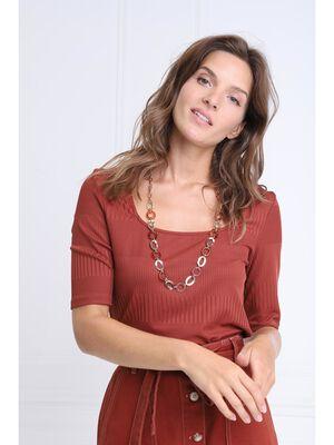 T shirt manches 34 col carre marron cognac femme
