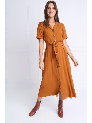 Robe chemise longue a ceinture marron femme