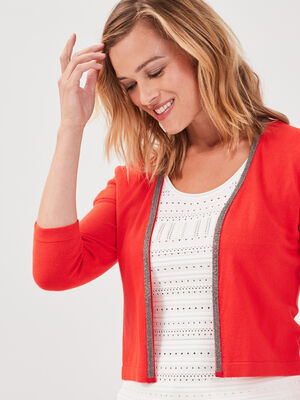 Gilet court manches 34 rouge femme