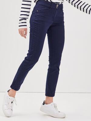Pantalon ajuste taille basculee bleu marine femme