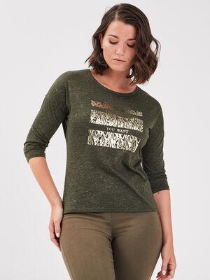 T shirt manches 34 vert kaki femme