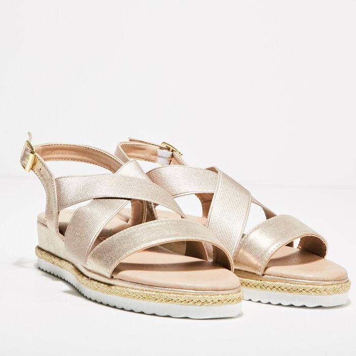 Sandales plates compensées couleur or femme