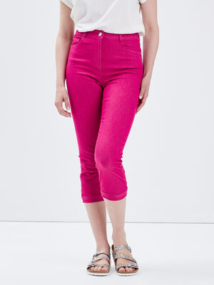 Pantacourt droit taille haute rose fushia femme