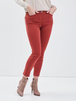Pantalon ajuste taille standard rouge fonce femme