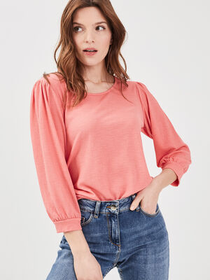 T shirt manches 34 orange corail femme