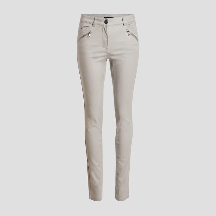 Pantalon ajusté détails zippés gris femme