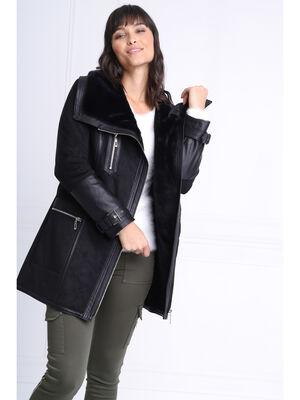 Manteau cintre col a revers noir femme