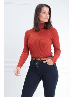 Pull manches longues col roule orange fonce femme