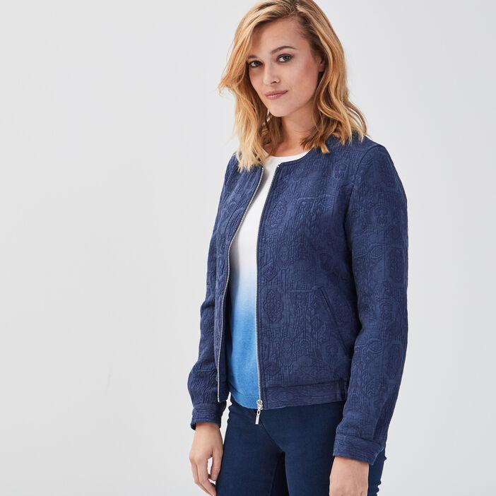 Veste ample col rond bleu marine femme