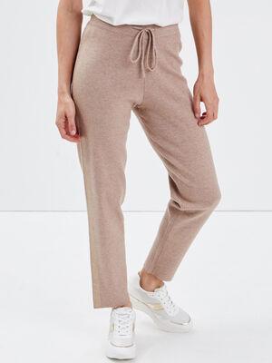 Pantalon flou tricot taupe femme