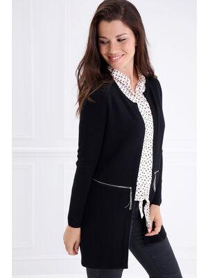 Gilet droit poches zippees noir femme