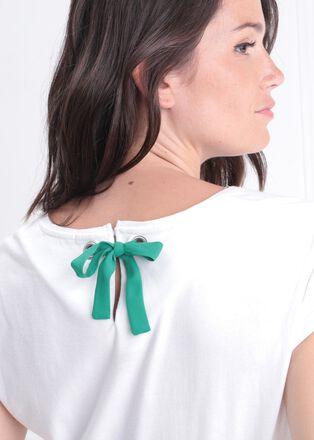T shirt manches courtes noeud blanc femme