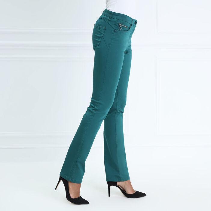 Pantalon taille basculée 5 poches vert canard femme