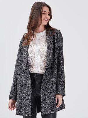 Manteau droit a col chale noir femme