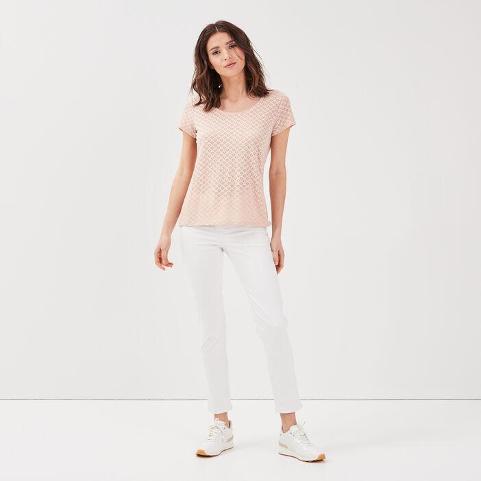 Pantalon ajusté réversible ecru femme