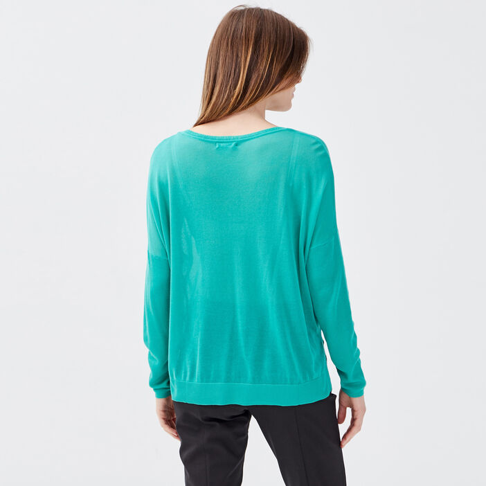 Pull manches longues vert menthe femme
