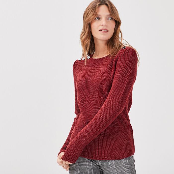 Pull fantaisie à épaules boutonnées rouge femme