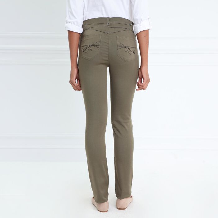 Pantalon ajusté taille standard vert olive femme