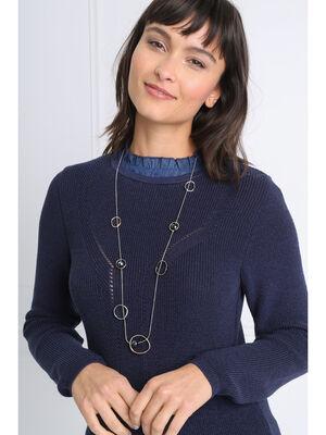 Sautoir perles et anneaux couleur argent femme