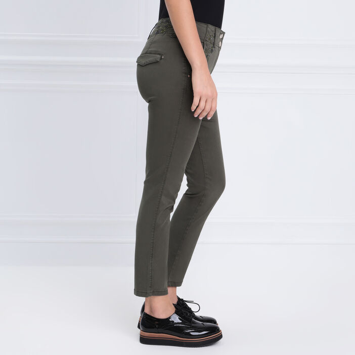 Pantalon chino taille basculée vert kaki femme