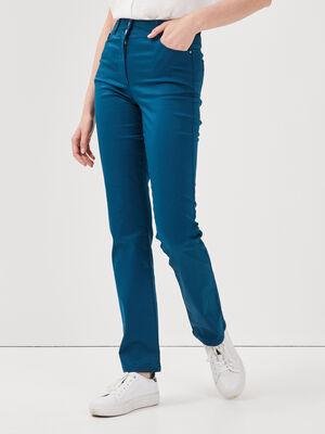 Pantalon droit taille haute bleu petrole femme
