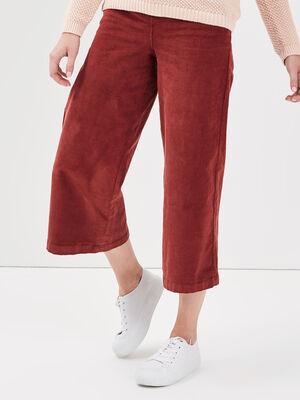 Pantalon evase taille haute rouge fonce femme