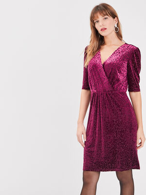 Robe ajustee effet velours rose framboise femme