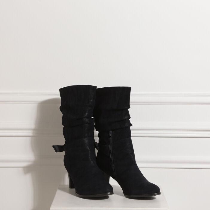 Chaussures de skate 60% pas cher aliexpress Bottes à talons effet plissé bleu canard femme | Vib's