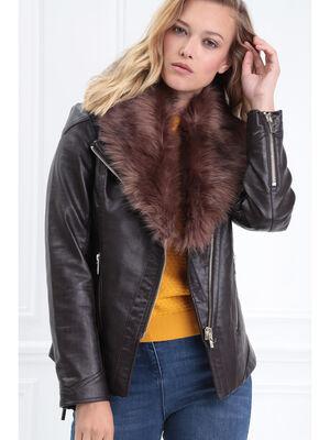 Veste cintree zippee marron femme