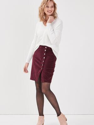 Jupe portefeuille velours violet fonce femme
