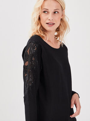 Pull manches longues strass noir femme
