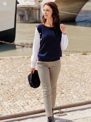 Pantalon ajuste details zippes vert olive femme