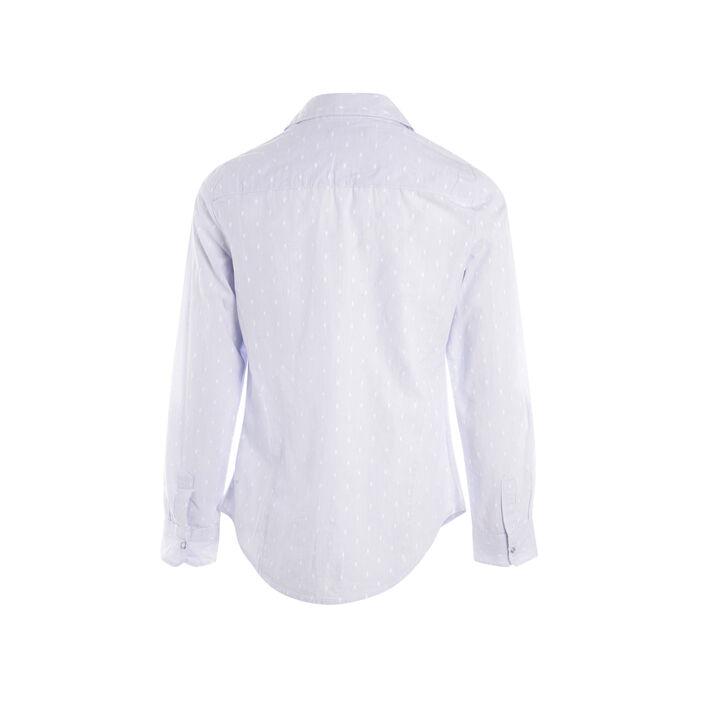 Chemise manches longues bouton bleu gris femme