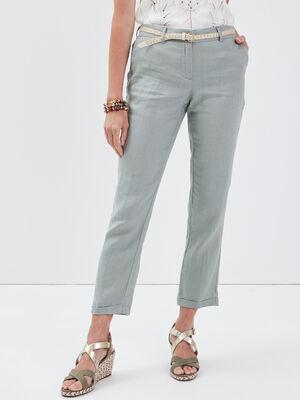 Pantalon chino taille basculee vert clair femme