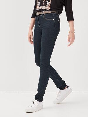 Jeans avec ceinture a carreaux denim brut femme