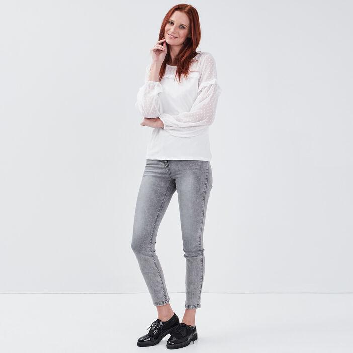 T-shirt manches longues ecru femme