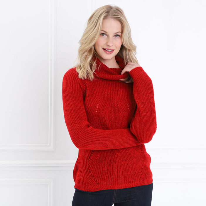 Pull manches longues col roulé rouge femme