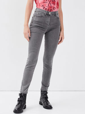Pantalon leger toucher doux pochette denim gris femme