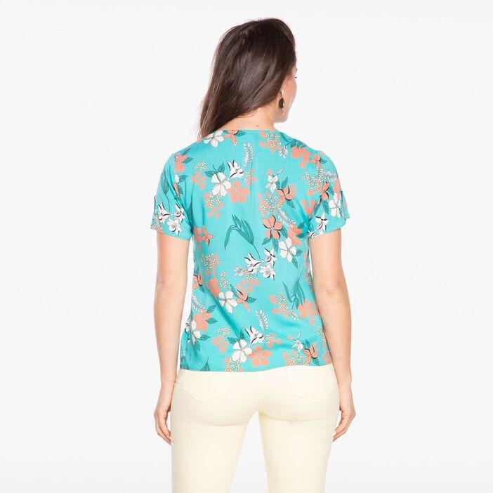 Chemise manches courtes imprimée vert turquoise femme
