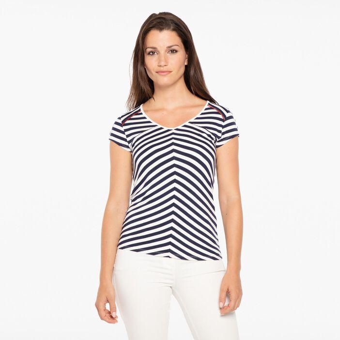 T-shirt col en V rayures ecru femme