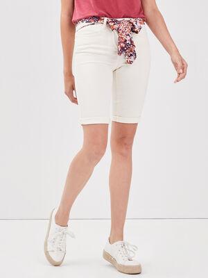 Short ajuste ceinture foulard creme femme
