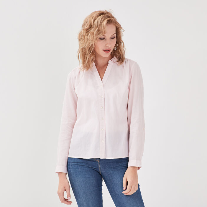 Chemise manches longues rose poudrée femme