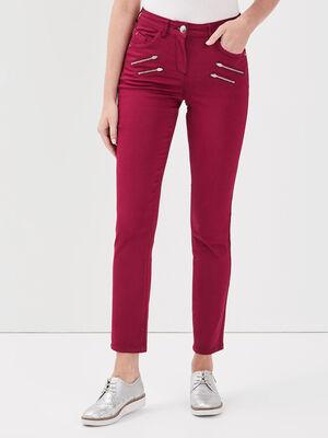 Pantalon ajuste details zippes rouge fonce femme
