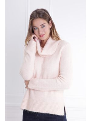 Pull col roule maille extensible rose poudree femme
