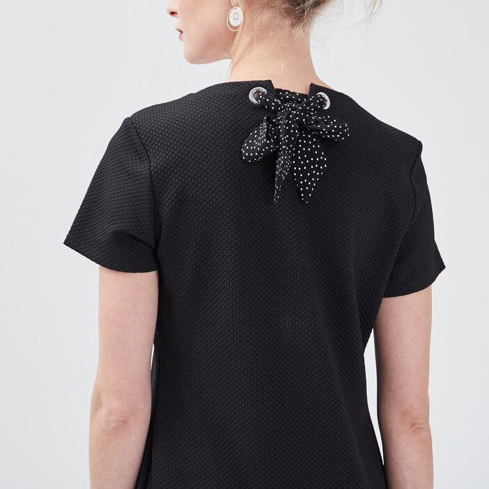 Robe pull droite avec noeud noir femme