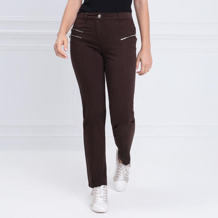 Pantalon ajusté zips marron foncé femme