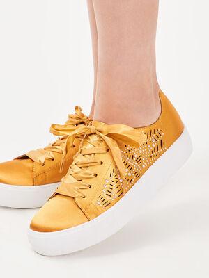 Baskets plates avec strass jaune femme